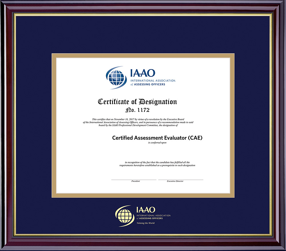 Designation certificate shown with optional frame